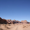 Wadi rum: notice how the sand color changes in the distance