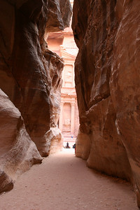 Petra - The Siq - After 1.2km, The Siq narrows, then ends abruptly to reveal 'The Treasury'.