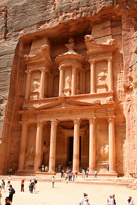 Petra - The Treasury (Al-Khazneh).  The Treasury was constructed sometime between 100BC and AD 200 as a tomb for Nabataean king Aretas III.  It gets it's name from the story that an Egyptian Pharaoh hid his treasure while pursuing the Israelites.