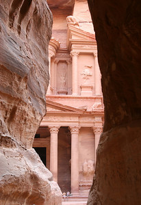 Petra - Another view of 'The Treasury' from the end of The Siq.