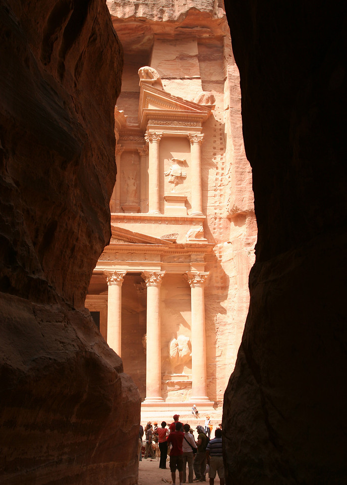 Petra - The Treasury (Al-Khazneh) lies at the end of The Siq.