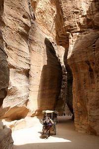 Petra - The Siq - The 1.2km long narrow gap through the mountains that is the main entrance to Petra.  In some places the Siq is only 2-5 metres wide, and the walls tower up to 200m high.