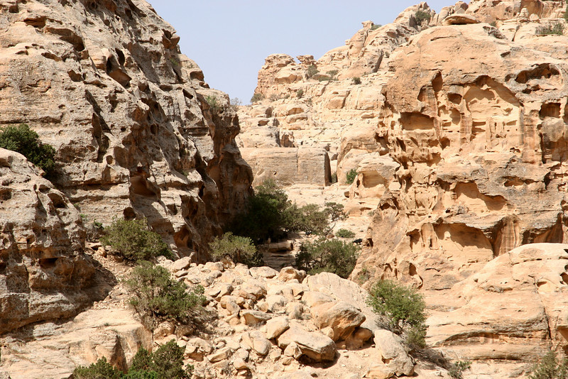 Little Petra (Siq Al-Barid) - The valley at the top of the narrow passageway at the end of Siq al-Barid.  I believe this eventually links with The Monastery at Petra.  Note the passageway cut into the rock in the middle distance.
