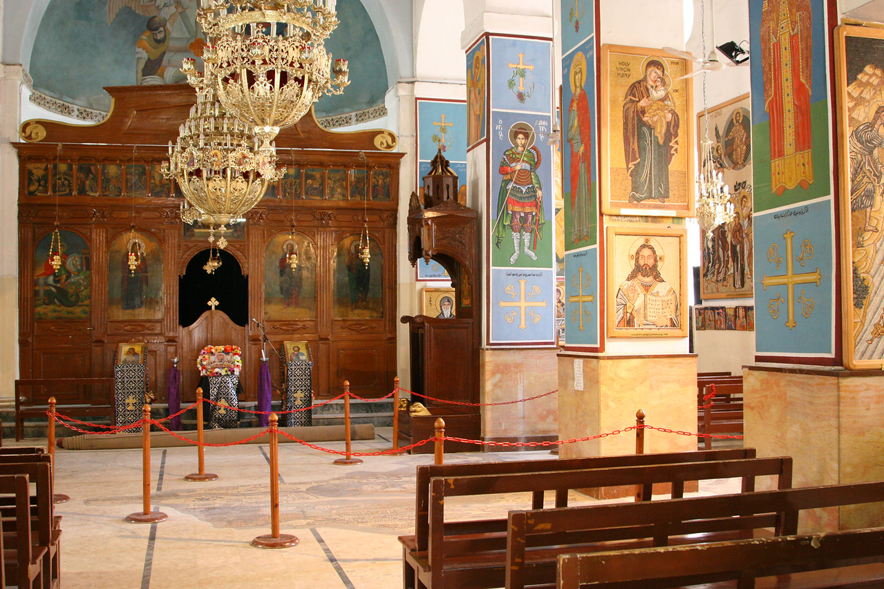 Madaba - St George's Church and mosaic map - The mosaic on the church floor (unearthed in 1884) is a map with 157 captions (in Greek) depicting all the major biblical sites of the Middle East.