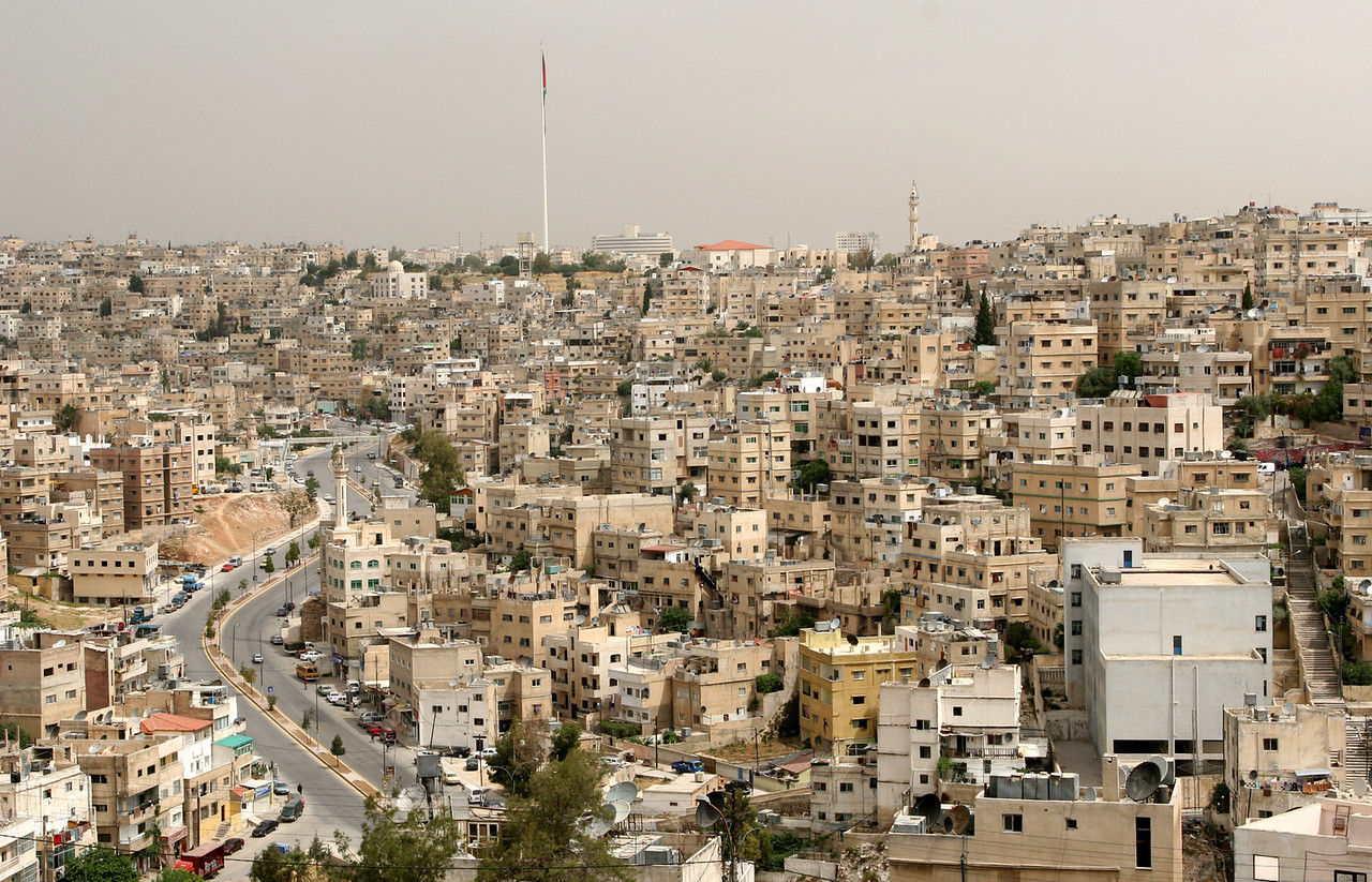 Amman - Another view of the city from the Citadel, this one showing the Raghadan flagpole, the second tallest in the world.  The flagpole is 127m high.