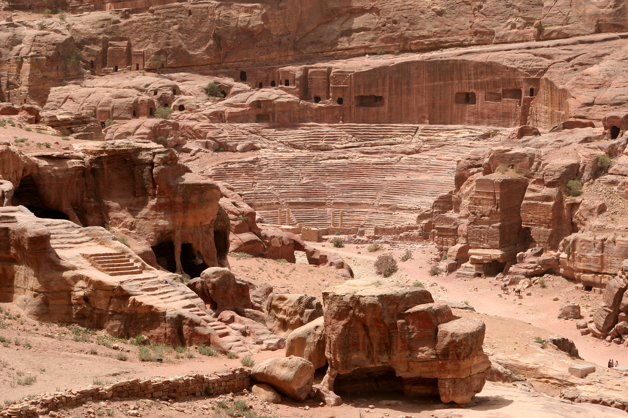 Petra - The Theatre and surrounding tombs.