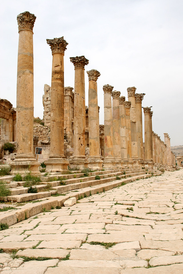 Jerash - The Cardo Maximus - These steps and columns (and the doorway on the left of the photo) mark the entrance to the 4th century cathedral (probably little more than a modest Byzantine church).  The gate and steps actually cover the remains on an earlier temple to the Nabataen god Dashura (see Petra).