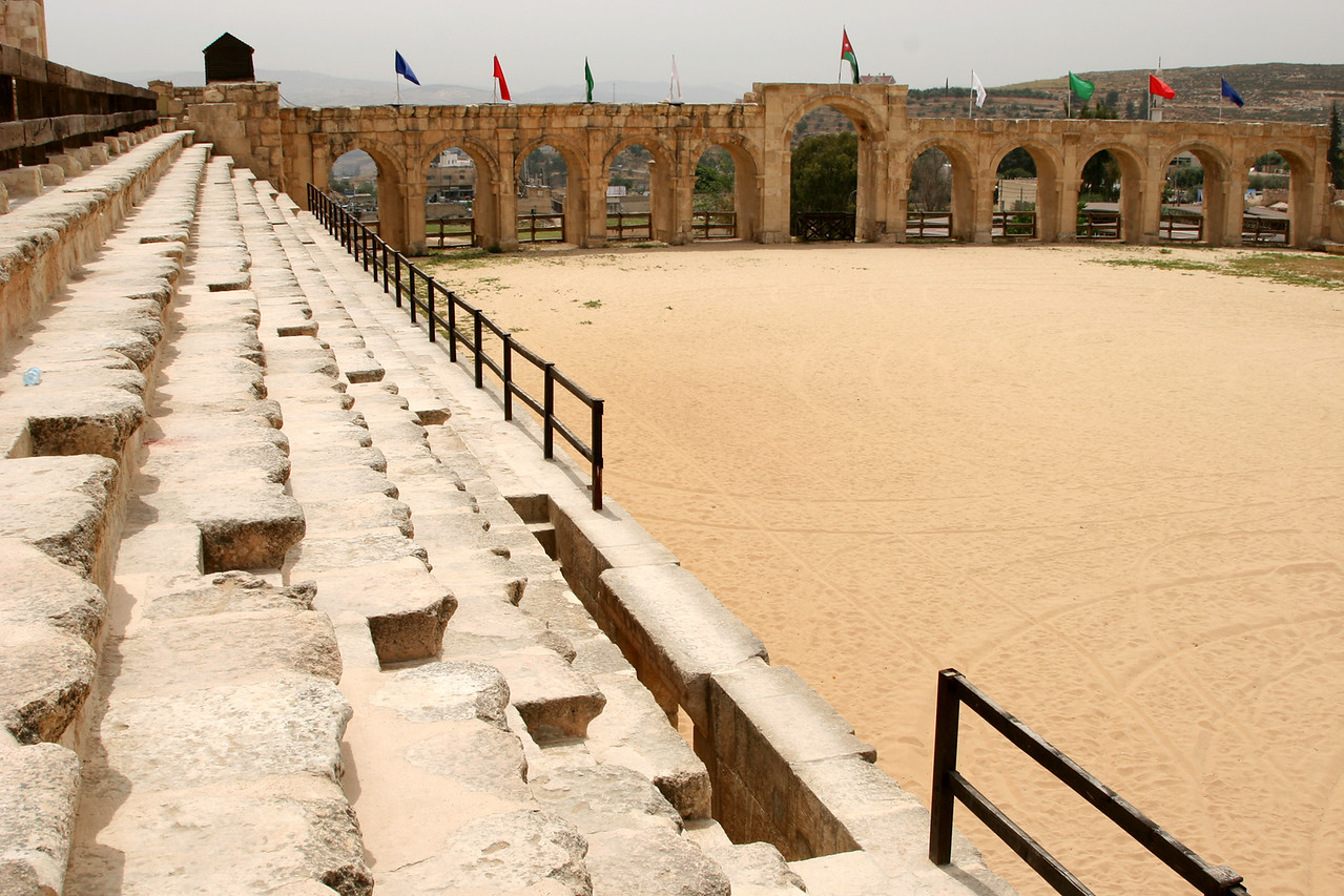 Jerash - The hippodrome, built sometime between the 1st and 3rd centuries.  This old sports ground (244m by 50m) was once surrounded by seating for up to 15,000 spectators and hosted mainly athletics competitions and chariot races.  Modern day chariot races are held twice daily, except Friday when there is one performance at 10am (I visited on a Friday and missed it).