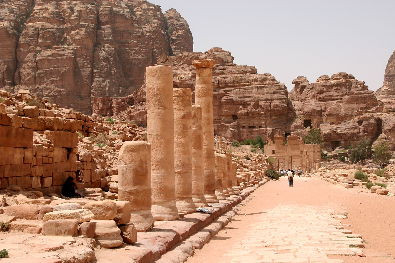 Petra - Another view of The Colonnaded Street.  This was built in about AD 106 by the Romans over an existing Nabataean thoroughfare.  The columns were of marble-clad limestone and originally lined a 6m wide paved carriageway with shops on either side.