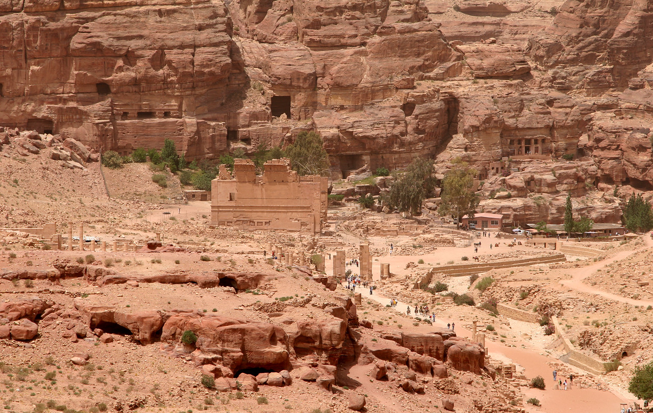 Petra - A closer view of the remains of the city and the temple Qasr Al-Bint.