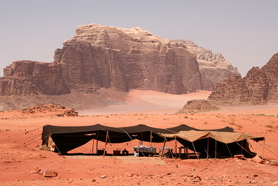 Wadi Rum - Jebel Umm E'jil from the Bedouin camp at Jebel Khazali.