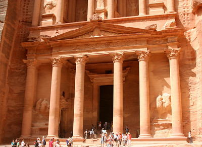 Petra - The lower half of The Treasury.  The interior of The Treasury is an unadorned square hall with a small room at the rear.