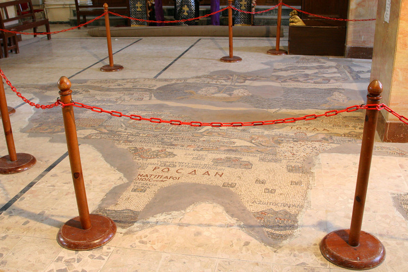 Madaba - St George's Church and mosaic map - The mosaic on the church floor (unearthed in 1884) is a map with 157 captions (in Greek) depicting all the major biblical sites of the Middle East.  The mosaic was constructed in AD 560 and was originally 25m long and 6m wide. It once contained more than 2 million pieces by only one third of the original mosaic remain.