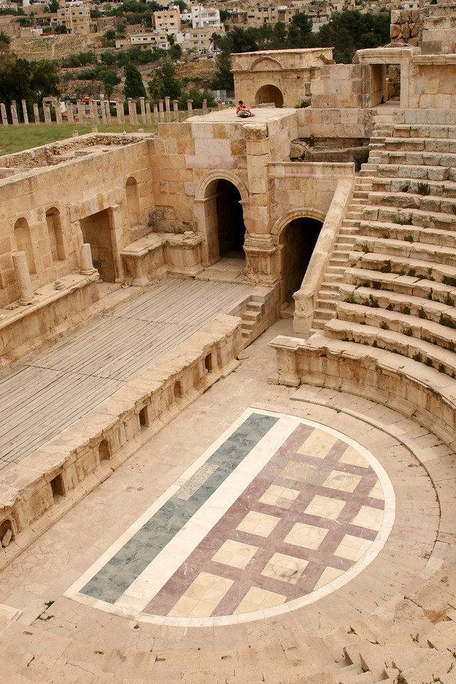 Jerash - The North Theatre, built in about AD 165 for government meetings rather than artistic performances.  It has been magnificently restored and holds about 2000 people.