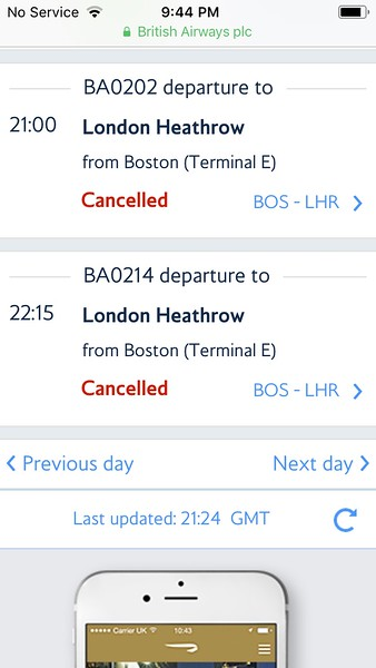 Original Flight cancelled