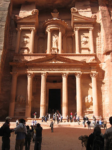 The Treasury at Petra.  Nothing prepares you for the rose tinted rock and the sheer size of the building.  To think that people carved it out of solid rock with hand held tools is just mind boggling.