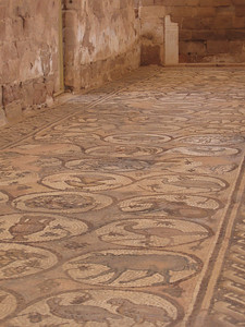 Mosaic floor in the church at Petra.  It was discovered in 1992.
