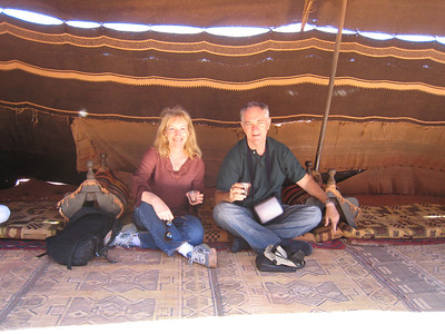 Drinking sage tea in a bedouin tent.