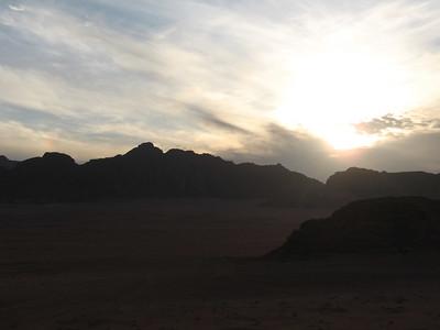 Sun setting over Wadi Rum.