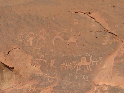 Rock inscriptions at Jebel Faishiyya in Wadi Rum.