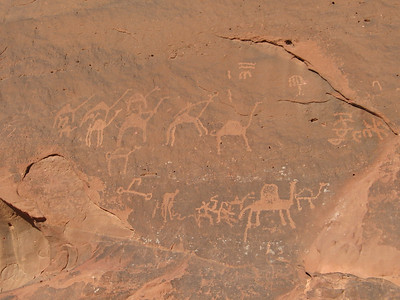 Rock inscriptions at Jebel Faishiyya in Wadi Rum.