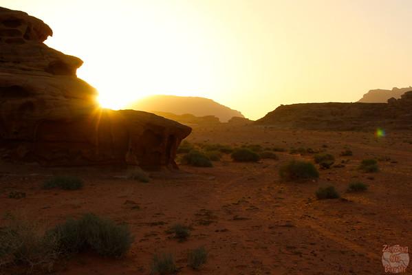 sunrise in Wadi Rum Desert, Jordan