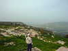 My brother Les, looking out over the Roman ruins.  On a less hazy day he could see the Sea of Galilei.