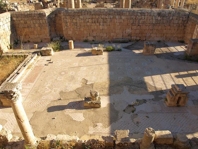 Jerash; mosaic floor of Church of Saints Cosmas and Damian