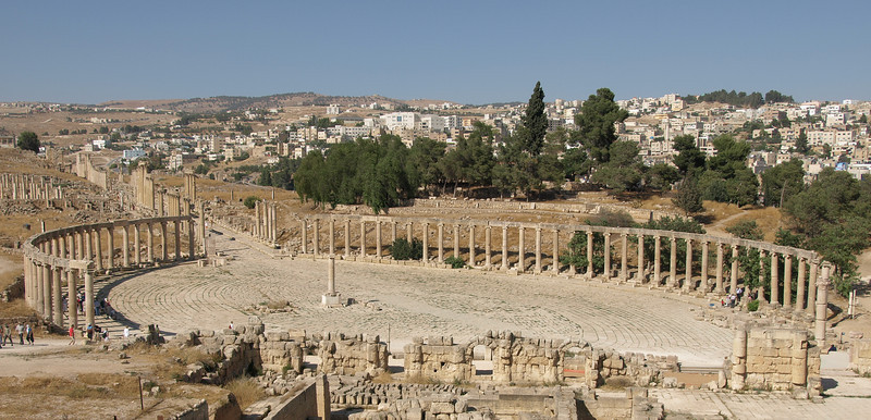 Jerash; the Forum, or main marketplace during Roman times.  Built in the 1st century A.D.