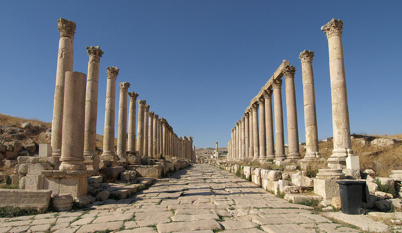 Jerash; the Cardo Maximus (main street).  Most major buildings and shops would have faced onto this street.  Mid 1st century A.D.
