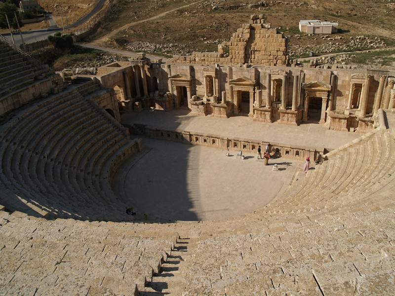 Jerash; South Theater.  Built during the 1st century, it could hold more than 3,000 people.  Still used today for concerts during the annual Jordan festival each summer.