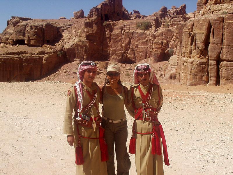 Joy with Jordanian police in traditional dress