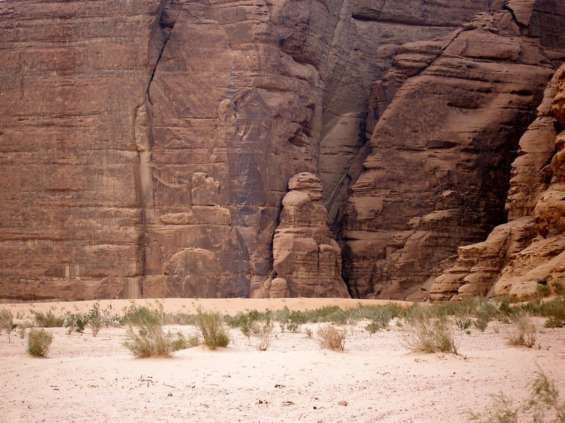 Wadi Rum; the rock formation in the middle reminded me of a male figure.