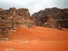 Wadi Rum sand dune.  Yes, the sand really is this color...and hot!!