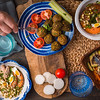 Serving holiday table falafel vegetable Salad and drinks horizontal