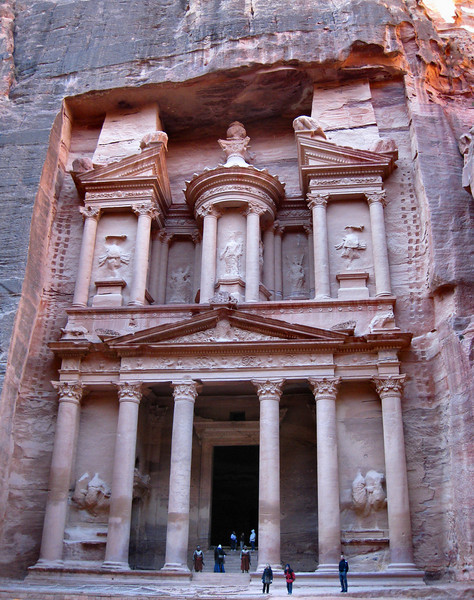 "The Treasury, Petra. Also known as the Rose City, Petra is one of the <a href=""http://www.new7wonders.com/classic/en/n7w/results/"">new seven wonders of the world</a>. The area has been used as a location for several films. The Treasury was used in the making of <a href=""http://www.imdb.com/title/tt0097576/"">Indiana Jones and the Last Crusade</a>."