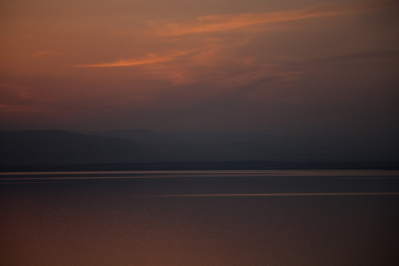 Past sunset on the Dead Sea, Jordan