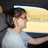 Liz driving through Tehachapi