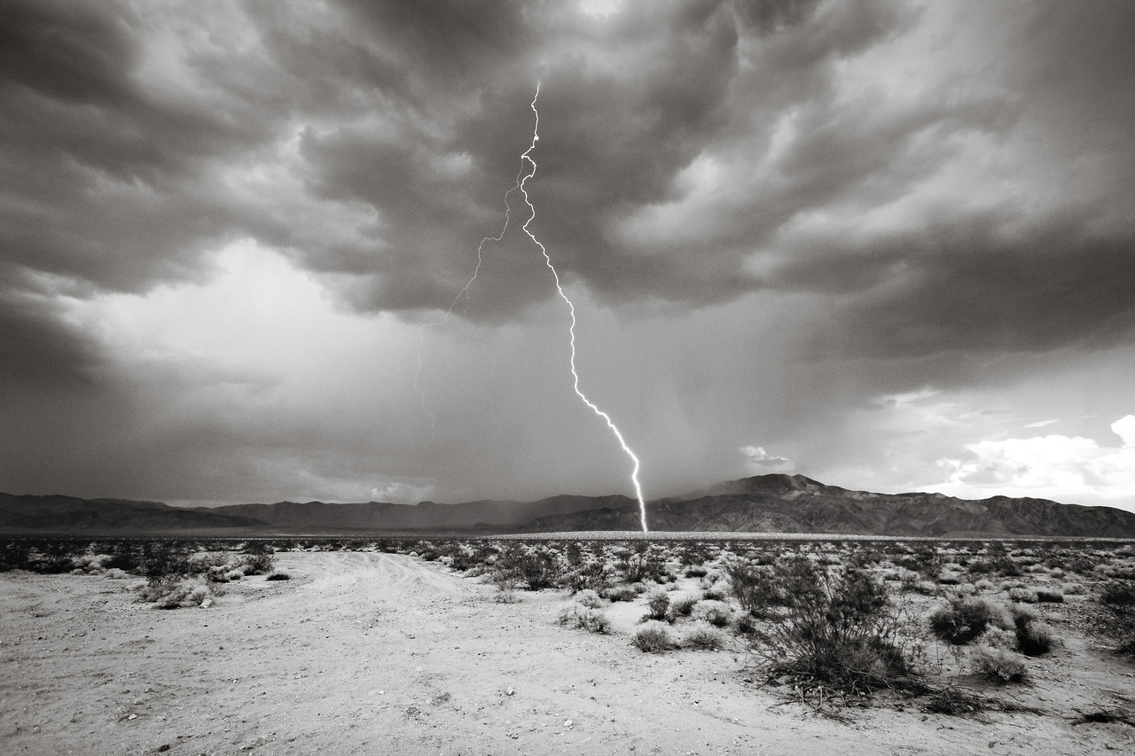 B&W Lightning Bolt - Joshua Tree National Park
