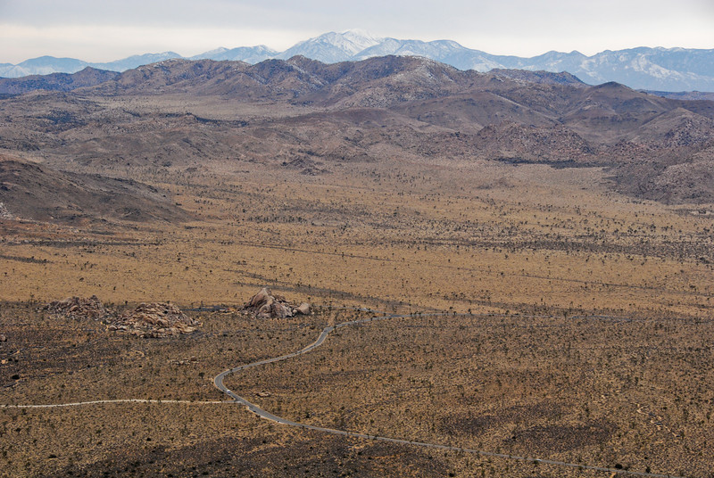 Looking West from Ryan Mountain. I'm fairly certain the rocks in the foreground include Cap Rock. The peak in the background is San Gorgonio.