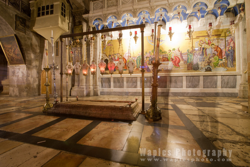 Stone of Unction and the Mosaic depicting the anointing of Christ's body after the Crucifixion