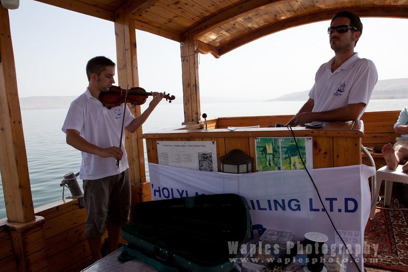 Sailing Troubadors, Daveed at  the helm