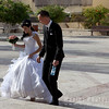 Bride and Groom near the Suzanne Dellal Center