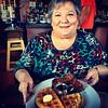 Mom and chicken and waffles at Brown Sugar Kitchen, Oakland
