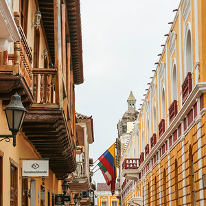The narrow, colonial style streets are common in Cartagena, Columbia.