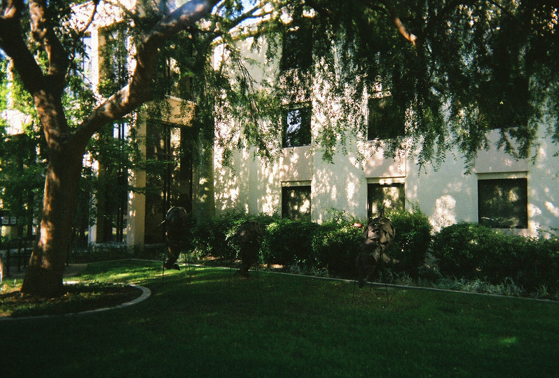 Dolphins frolic in this Caltech building's yard.