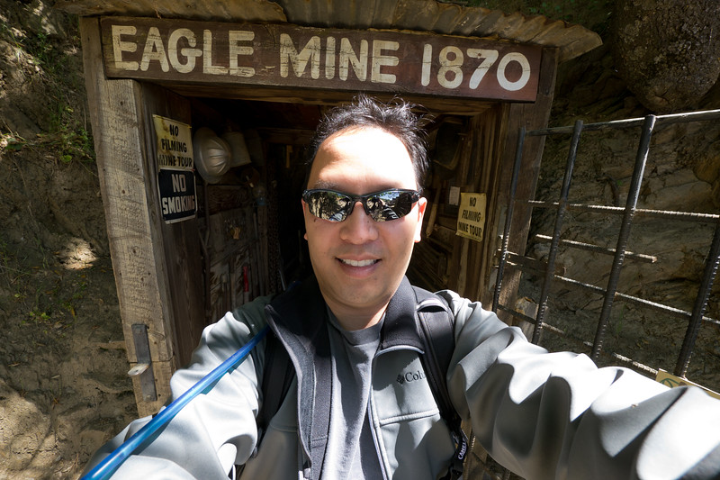 Self portrait in front of the Eagle Mine - shot @ ISO 160, f/5.6, 1/60 sec, on Panasonic DMC-GH2 w/ LUMIX G VARIO 7-14/F4 lens at 7 mm