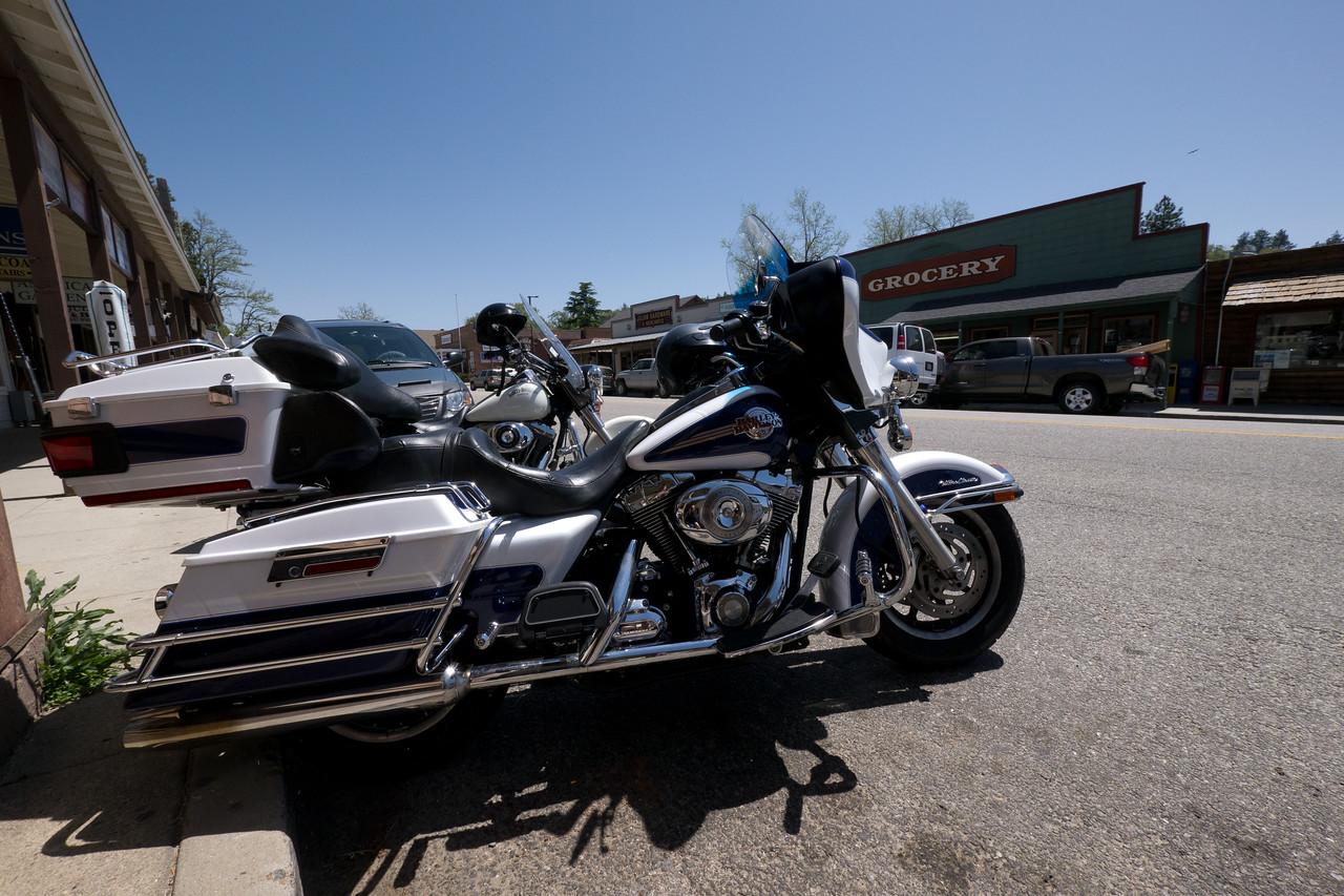 Harley Davidson's parked on the main street. - shot @ ISO 320, f/10, 1/640 sec, on Panasonic DMC-GH2 w/ LUMIX G VARIO 7-14/F4 lens at 7 mm