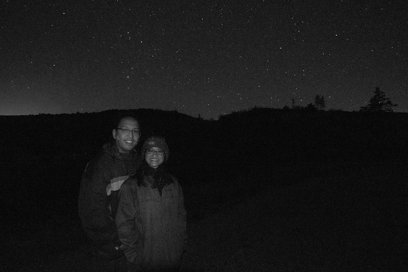 Vu and Catherine under the stars.  The ONLY time the entire trip I wish I had manual flash control. - shot @ ISO 2500, f/4.0, 20.0 sec, on Panasonic DMC-GH2 w/ LUMIX G VARIO 7-14/F4 lens at 9 mm