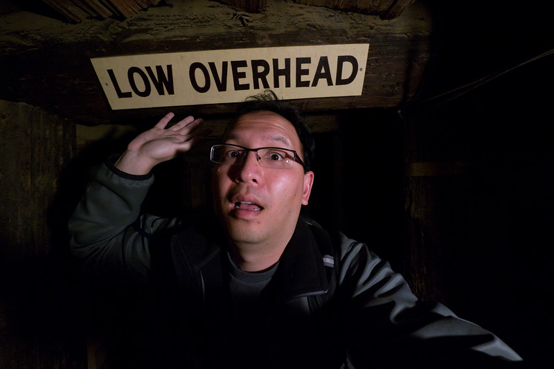 Watch out for the low overhead.  Self portrait. - shot @ ISO 1600, f/4.0, 1/30 sec, on Panasonic DMC-GH2 w/ LUMIX G VARIO 7-14/F4 lens at 7 mm